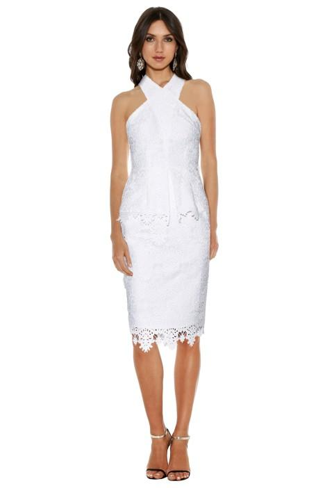 Ministry Of Style Cross Section Fitted Midi Dress in Ivory