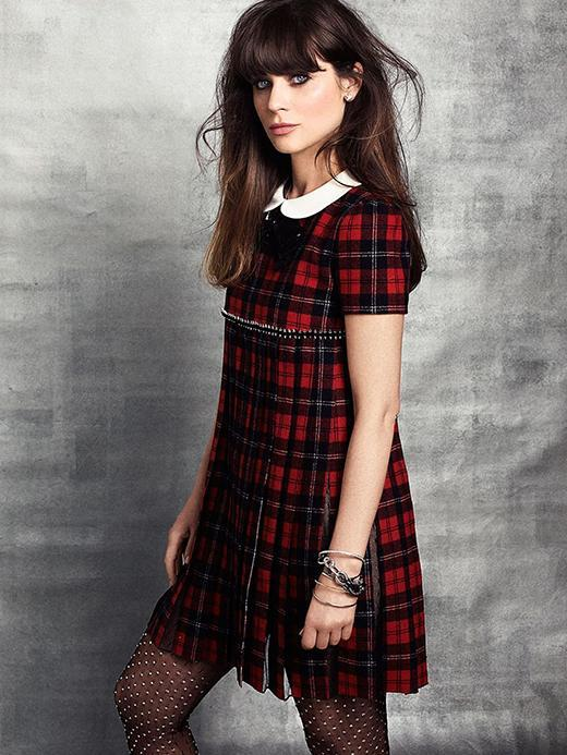 zooey deschanel marie claire photoshoot mini dress patterned tights autumn celbrity looks