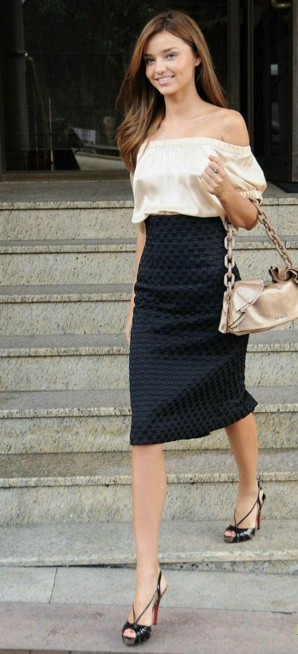 Off the Shoulder Silk Top and Pencil Skirt
